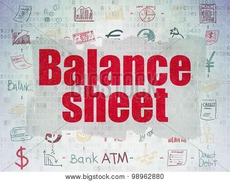 Money concept: Balance Sheet on Digital Paper background