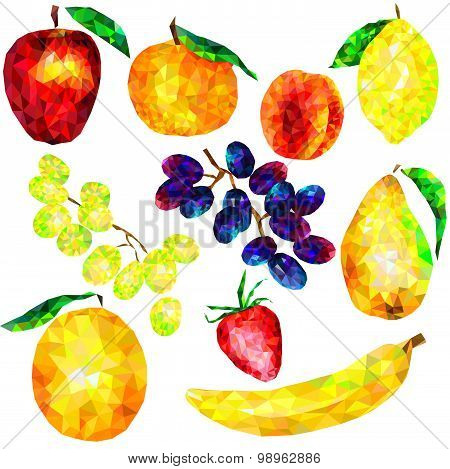 a large set of fruit triangles on a white background