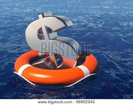 Dollar Symbol With Life Buoy In Water.