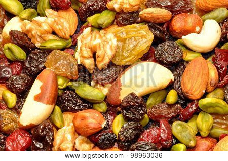 Mixed Fruit And Nut Background