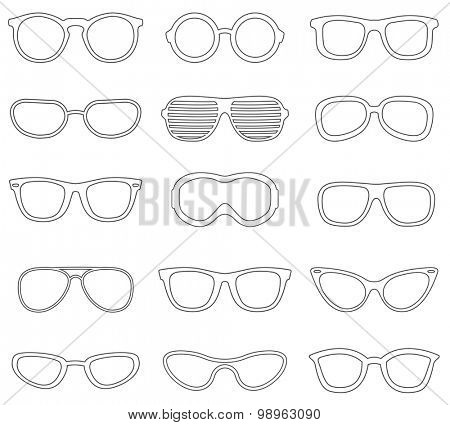 Glasses line icons set.Vector