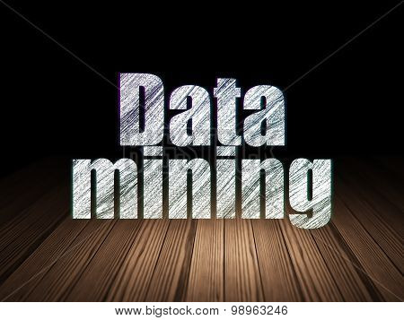 Data concept: Data Mining in grunge dark room