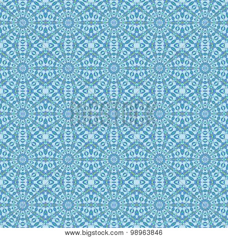 Seamless circles and diamond pattern blue
