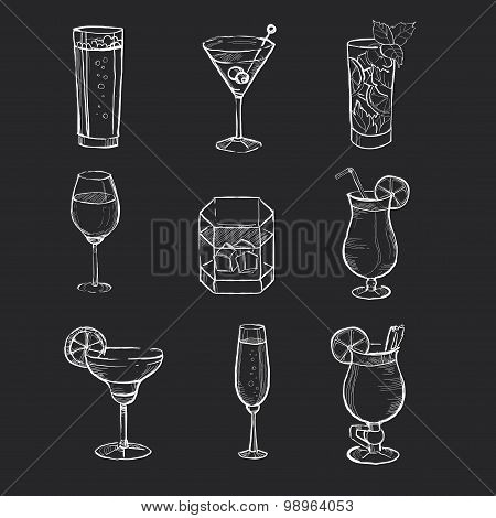 Set of different hand drawn beverages on the blackboard. Vector illustration.