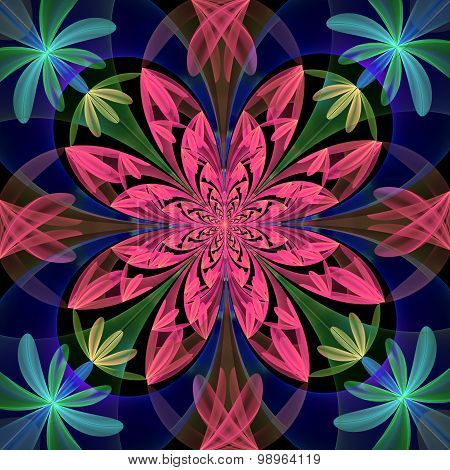Fabulous Symmetrical Pattern Of The Petals. Purple, Blue And Green Palette.