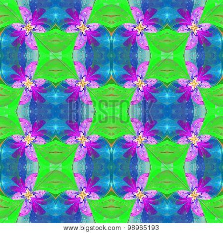 Beautiful Symmetrical Pattern In Stained-glass Window Style. Green, Blue, Pink Palette.