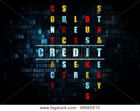 Business concept: word Credit in solving Crossword Puzzle