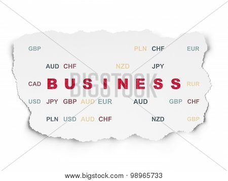 Finance concept: Business on Torn Paper background