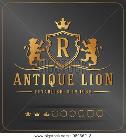 Luxurious Lions Royal Crest Vector Design Template
