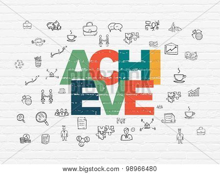 Business concept: Achieve on wall background