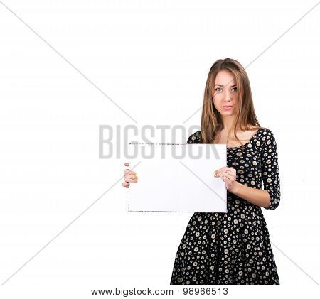 Young lady with blank workbook