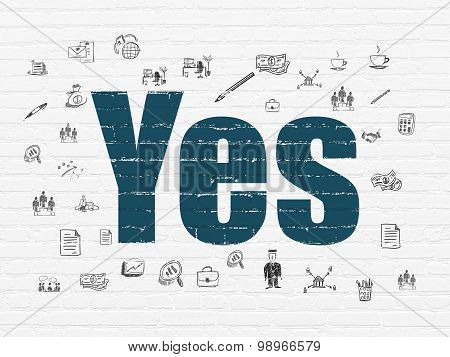 Finance concept: Yes on wall background
