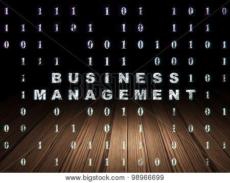 Finance concept: Business Management in grunge dark room