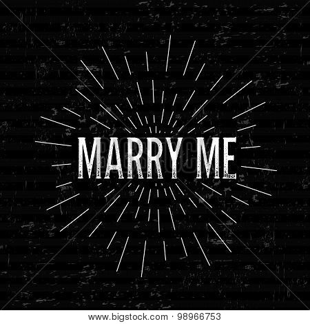 Abstract Creative concept vector design layout with text - marry me. For web and mobile icon isolate