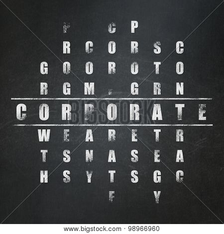 Finance concept: word Corporate in solving Crossword Puzzle