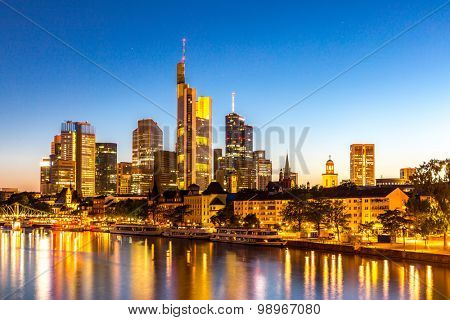 Frankfurt am Mine Skyscraper skyline building at dusk Germany