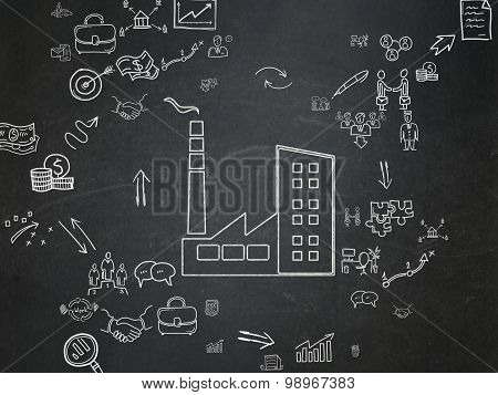 Finance concept: Industry Building on School Board background