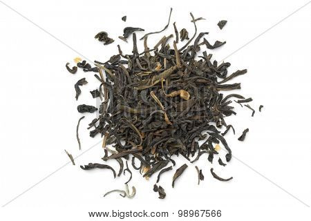 Heap of dried green tea on white background