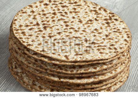 Pile of fresh wholewheat matzos