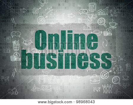 Business concept: Online Business on Digital Paper background