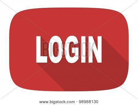 login flat design modern icon with long shadow for web and mobile app