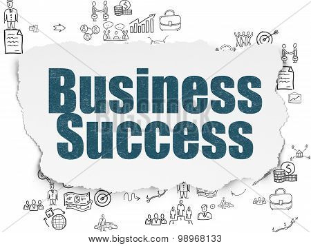 Business concept: Business Success on Torn Paper background