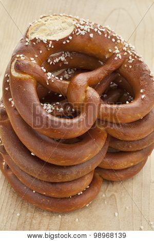 Pile of fresh soft pretzels with salt