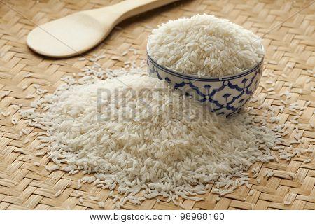 Bowl with uncooked white Jasmine rice