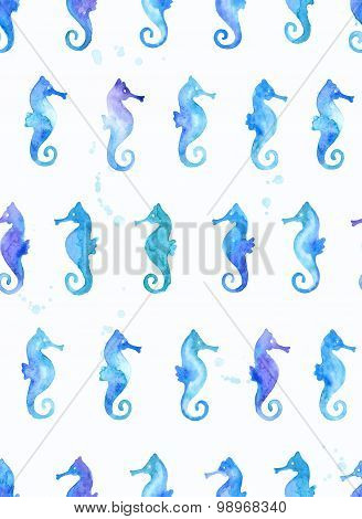 Seamless watercolor pattern with seahorses. Vector background.