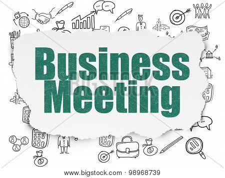 Business concept: Business Meeting on Torn Paper background
