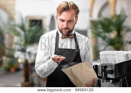 Barista checking coffee beans at the cafe