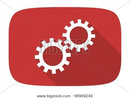 gear flat design modern icon with long shadow for web and mobile app