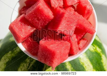 Pieces Watermelon In Bowl, Top View