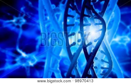 Digital blue image of DNA molecule and technology concepts