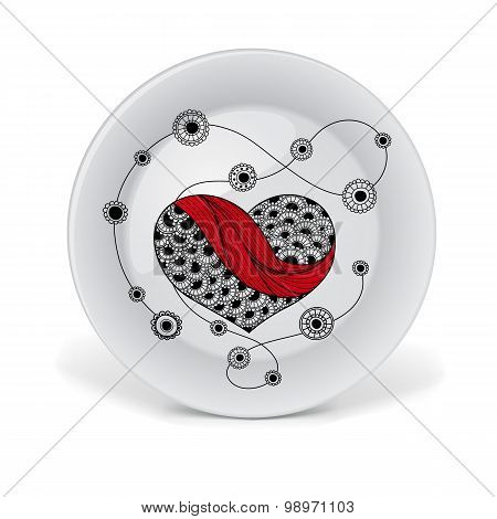 Decorative plate with red lace heart.