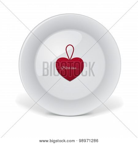 Decorative plate with red heart.