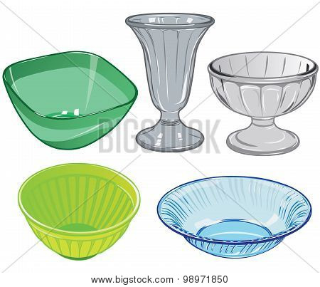 Set of  glassware and glass vase and plastic salad bowls for kitchen