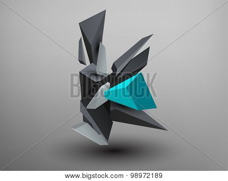 3D Prism Font - K