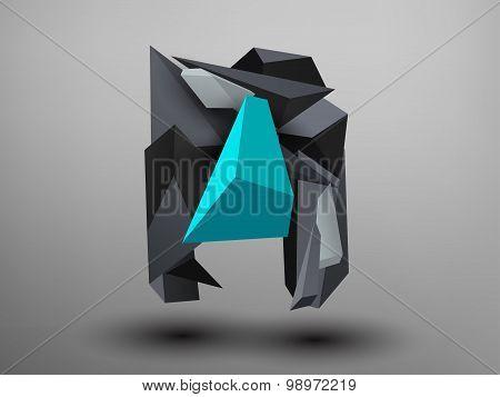 3D Prism Font - N