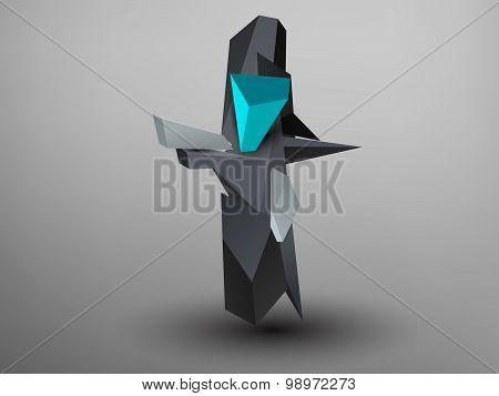 3D Prism Font - T