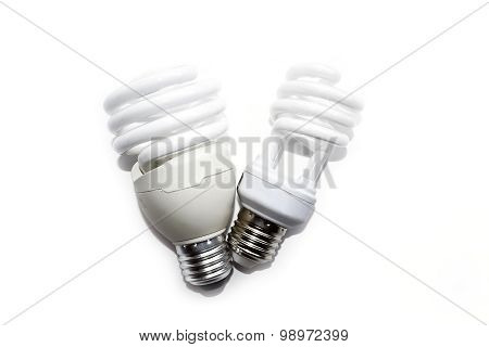 Compact fluorescent lamps isolate on white background