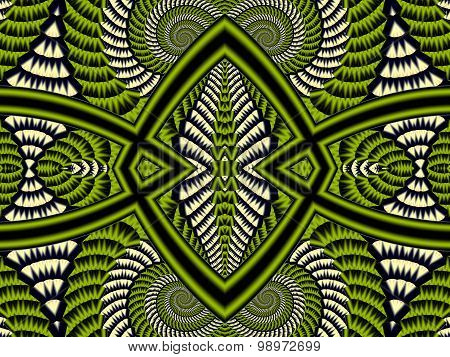 Symmetrical Textured Background With Spirals. Gray And Green Palette. Computer  Graphics.