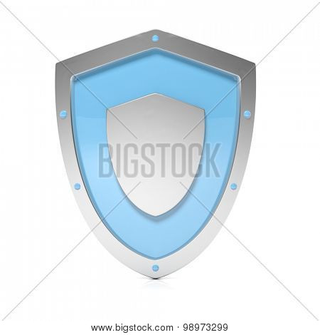 Shiny silver shield symbol isolated on white background