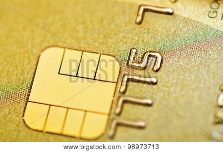 Golden credit bank card with chip macro, Fake card numbers