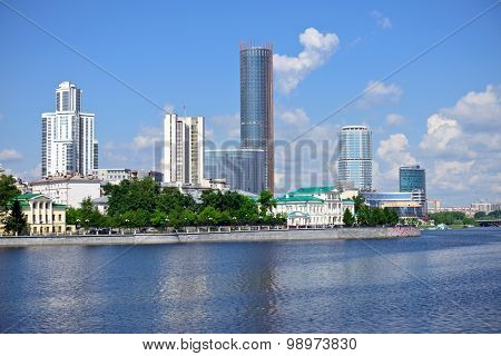 Yekaterinburg  embankment, pond and modern buildings