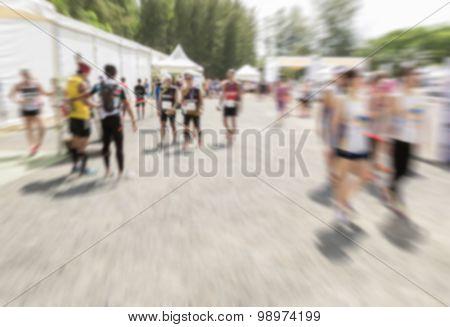 Motion Blurred Crowd Of Athlete For Marathon