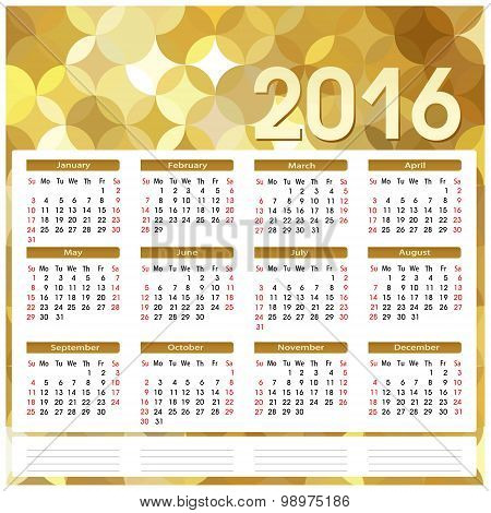 Calendar 2016. Golden Abstract Background
