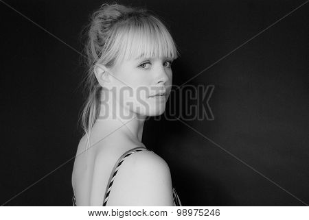 Young Pretty Woman - Studio Shot - Black Background