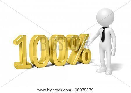 An image of a man presenting 100 percent