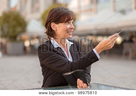 Stylish Woman Offering Her Money